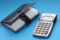 Diary and a calculator Royalty Free Stock Images