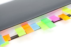 Diary closeup with a colored tabs Royalty Free Stock Photos
