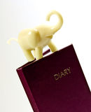 Diary and  Tiny Elephant Stock Images