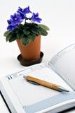 Diary end pen Stock Photography