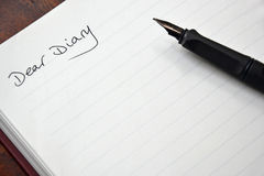 Diary entry Stock Image