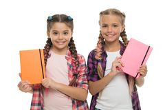 Diary for girls concept. Children cute girls hold notepads or diaries isolated on white background. Note secrets down in. Your cute girly diary journal. Diary royalty free stock photos
