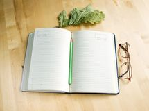 Diary, glasses and a branch of dry oak leaves. On a wooden background Royalty Free Stock Photo