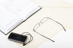 Diary, glasses and phone Royalty Free Stock Image