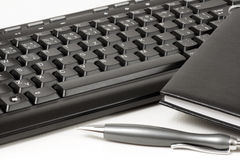 Diary on the keyboard. Royalty Free Stock Photography