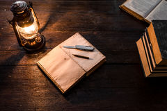 Diary and lamp Royalty Free Stock Photo