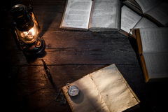 Diary and lamp Stock Photo
