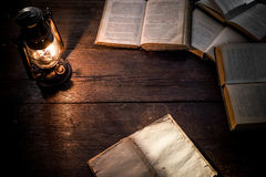 Diary and lamp Stock Photography