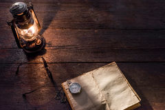 Diary and lamp Stock Image