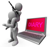 Diary Laptop Characters Show Internet Appointment Or Schedules Royalty Free Stock Photo
