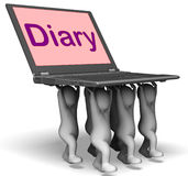 Diary Laptop Characters Show Web Appointments Or Schedule Stock Photos