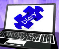 Diary Laptop Shows Web Planning Or Scheduling Royalty Free Stock Images