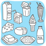 Diary and milk products. Drawing of diary and milk products - hand-drawn illustration Stock Photo
