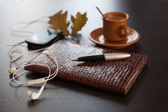 Diary, mobile phone and coffee Royalty Free Stock Image
