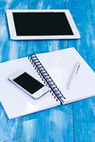 Diary, mobile phone, tablet PC. On the table Royalty Free Stock Photography