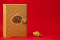 Diary my secrets French and seashell. Red background. A booklet, little black book entitled My Secrets on a red background. Beside a small shell at the bottom Royalty Free Stock Image