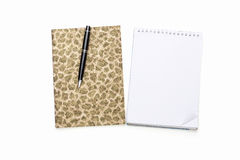 Diary and note pad with black ball pen Stock Images