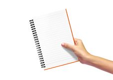 Diary note in woman hand. Isolated on white background royalty free stock photography