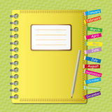 Diary notebook. With bookmark by illustration Stock Image