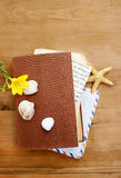 Diary, old letters and yellow freesia flower Royalty Free Stock Images