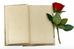 Diary with opened sheets and with red rose Royalty Free Stock Image