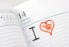 Diary Page Open To Valentine S Day Royalty Free Stock Photos