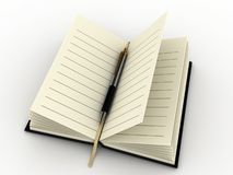 Diary and pen Stock Photos