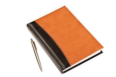 Diary and pen on table isolated Royalty Free Stock Images