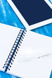 Diary, pen and  tablet PC Stock Photos