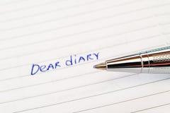 Diary and a pen Stock Photos