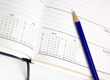 Diary and pencil Royalty Free Stock Photography
