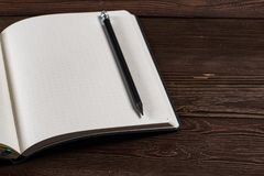 Diary with a pencil stock photography