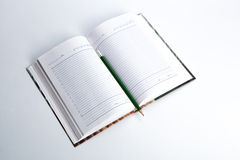 Diary with pencil. Open diary with shiny pencil Stock Photos