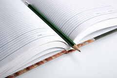 Diary with pencil. Open diary with shiny pencil Royalty Free Stock Image
