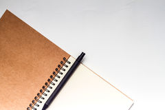 Diary with pencil on white vintage background Stock Photography