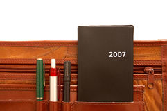 Diary and pencils. In a attache case royalty free stock images