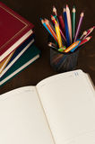 Diary and pencils Royalty Free Stock Photos