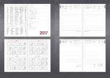 Diary planner for any year. Template for layout of the Diary planner for any year. Design office book to every day with page templates, personal data and Stock Photography