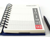 Diary planner and pen on white background Stock Photography