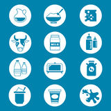 Diary products, milk vector icons set Royalty Free Stock Photo