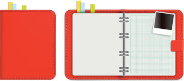Or diary in red leather with blank pages Stock Photos