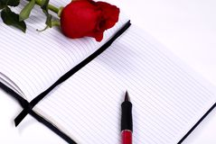 Daily Diary with rose royalty free stock photo