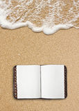 Diary on sand Royalty Free Stock Images