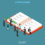 Diary schedule calendar planner flat isometric vector 3d. Diary schedule calendar planner flat 3d isometry isometric business concept web vector illustration Royalty Free Stock Image