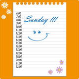 Diary sunday vector sheet Royalty Free Stock Image