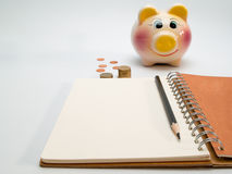 Diary , To calculate the daily cost. Stock Photo