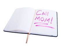 Diary with the words call mom Royalty Free Stock Photos