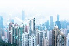 Dias úteis da cidade grande Skyline urbana moderna Cubo financeiro Mercado de valores e operação bancária de ação fotografia de stock royalty free