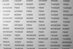 Dias da semana imagens de stock