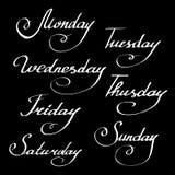 Dias da semana Palavras da caligrafia para calendários ilustração stock